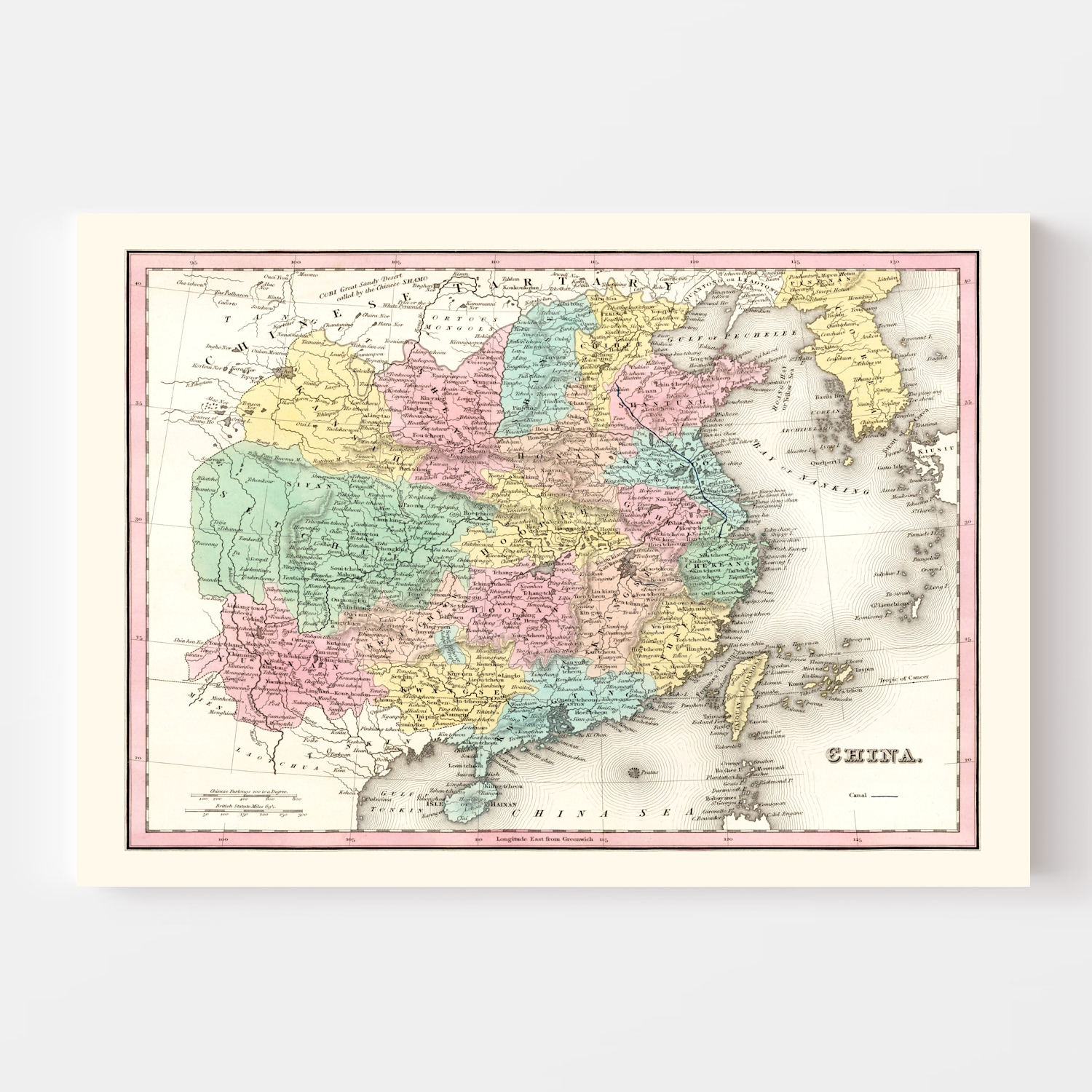 Vintage Map of China 1836