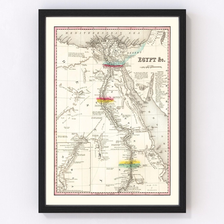 Vintage Map of Egypt 1836