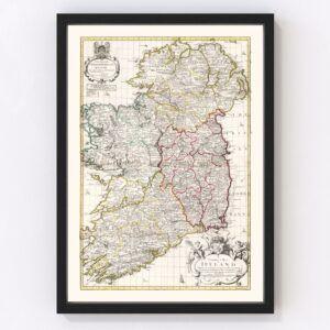 Vintage Map of Ireland 1714