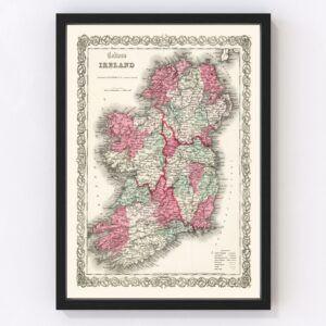 Vintage Map of Ireland 1865