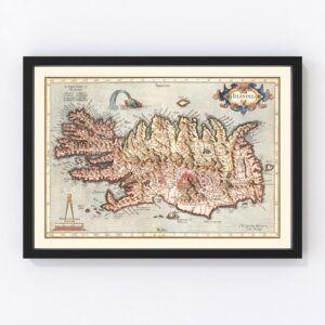 Vintage Map of Iceland 1623