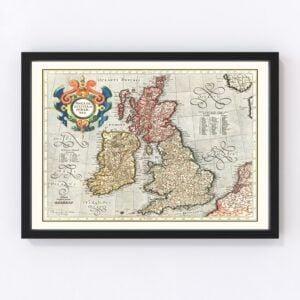 Vintage Map of England, Scotland & Ireland 1623