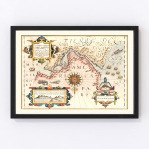 Vintage Map of Chile & Argentina 1623