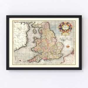 Vintage Map of England 1623