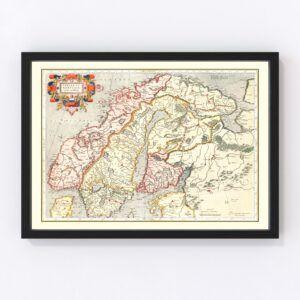 Vintage Map of Norway, Sweden & Finland 1623