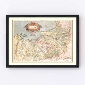Vintage Map of Prussia 1623