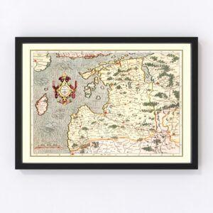 Vintage Map of Latvia 1623