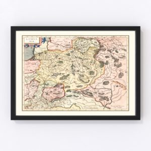 Vintage Map of Lithuania 1623