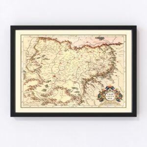 Vintage Map of Transylvania (Romania) 1623