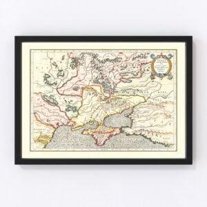 Vintage Map of Ukraine & Russia 1623