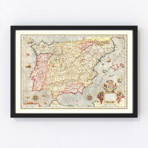 Vintage Map of Spain 1623