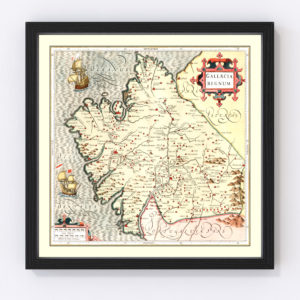 Vintage Map of Galicia Spain, 1623