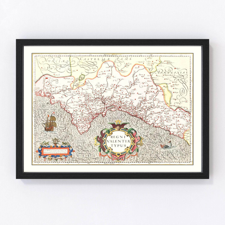 Vintage Map of Valencia, Spain 1623