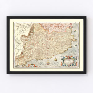 Vintage Map of Catalonia Spain , 1623