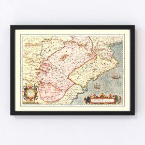 Vintage Map of Aragon & Catalonia Spain, 1623