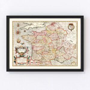 Vintage Map of Gaul France, 1623