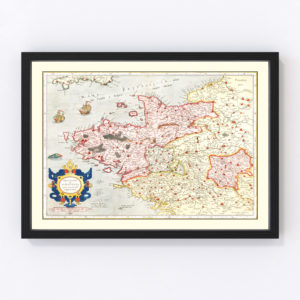 Vintage Map of Brittany & Normandy France, 1623