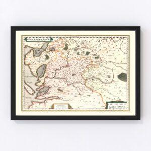 Vintage Map of Saintonge (Xaintonge) France, 1623