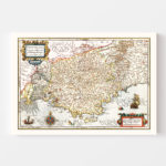 Vintage Map of Gaul Region of France, 1623