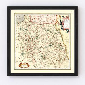 Vintage Map of Champagne France, 1623