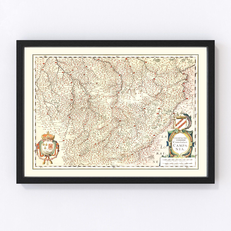 Vintage Map of Champagne Region of France, 1623