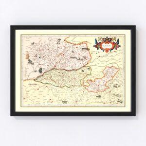 Vintage Map of Anjou France, 1623