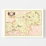 Vintage Map of Bourbonnais France, 1623