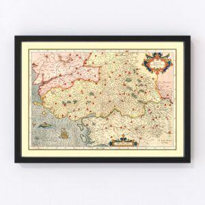 Vintage Map of Poitou France, 1623