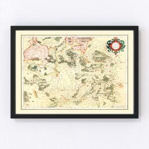 Vintage Map of Lorraine France, 1623