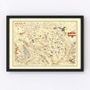 Vintage Map of Burgundy France, 1623