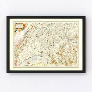 Vintage Map of Switzerland (Das Wiflispurgergou), 1623