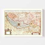 Vintage Map of Lake Geneva, Switzerland, 1623