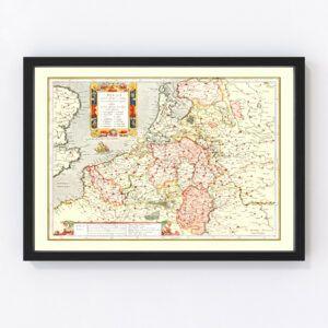 Vintage Map of Belgium 1623