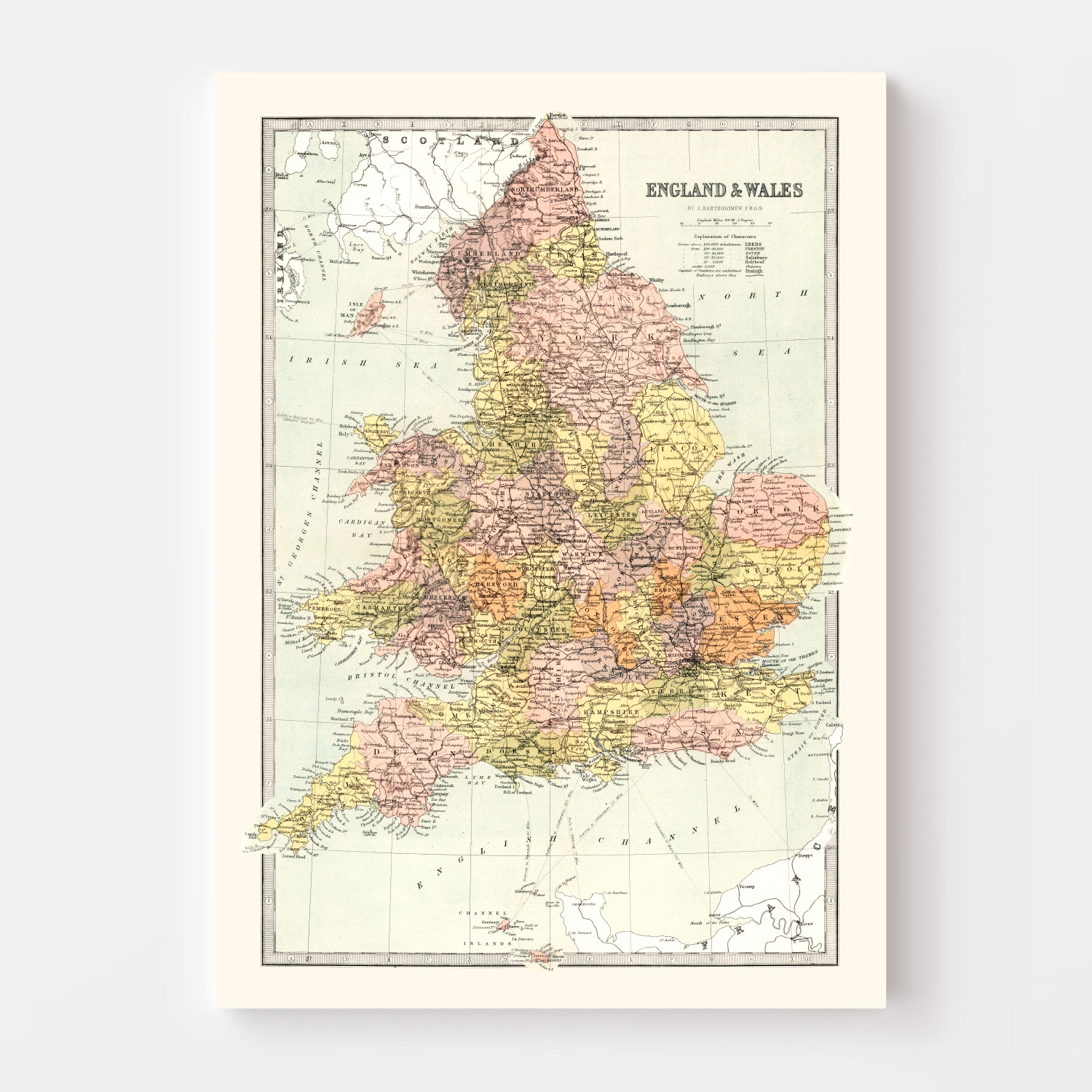 Vintage Map of England & Wales 1871