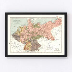 Vintage Map of Prussia, Netherlands & Belgium 1871