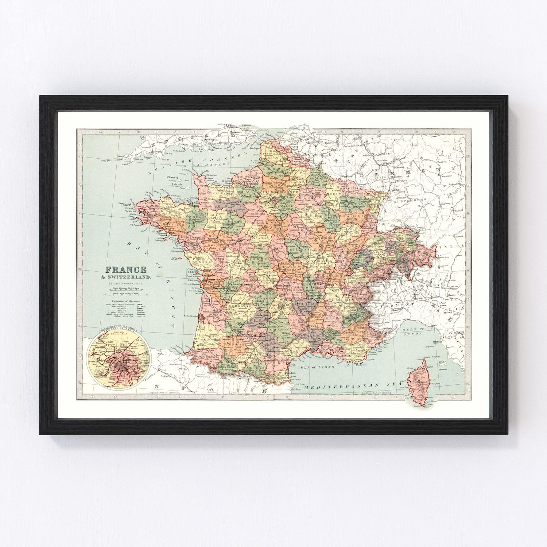 Vintage Map of France & Switzerland 1871