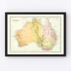 Vintage Map of Australia 1871