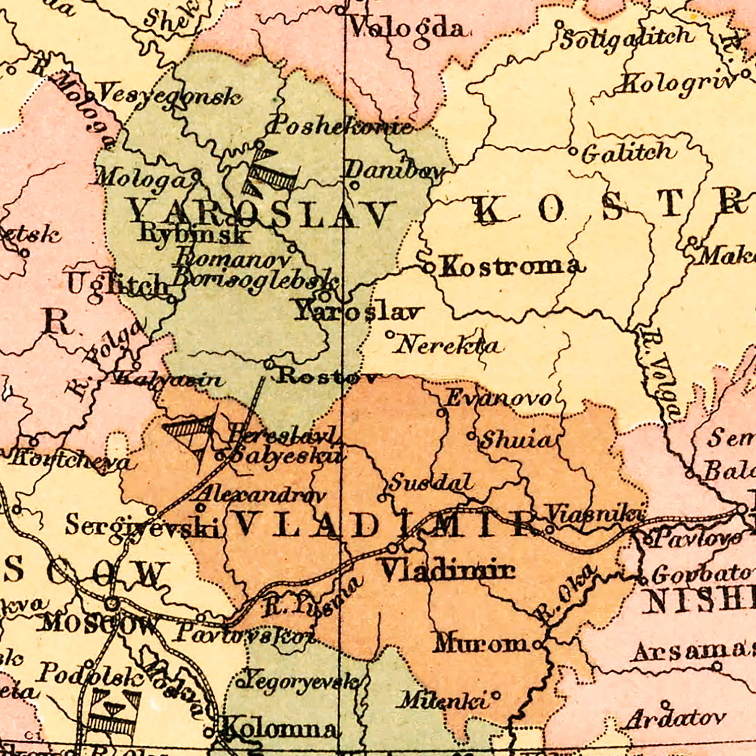 Vintage Map of Russia 1871