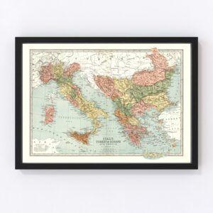 Vintage Map of Italy, Turkey & Greece 1871