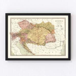 Vintage Map of Austria 1871
