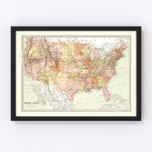 Vintage Map of United States 1871