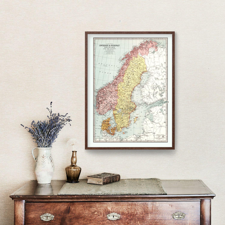 Vintage Map of Sweden, Norway & Denmark 1871