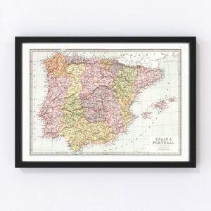 Vintage Map of Spain & Portugal 1871