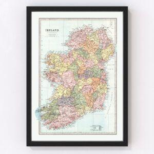 Vintage Map of Ireland 1871