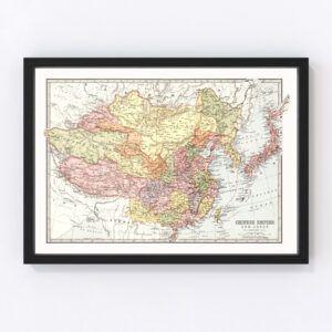 Vintage Map of China & Japan 1871