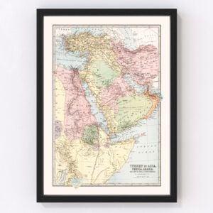 Vintage Map of Turkey, Persia, Arabia & Egypt 1871