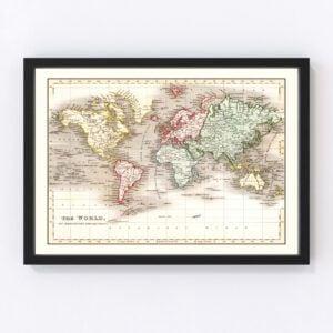 Vintage World Map 1832