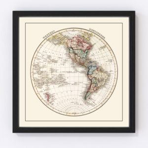 Vintage Western Hemisphere Map 1832