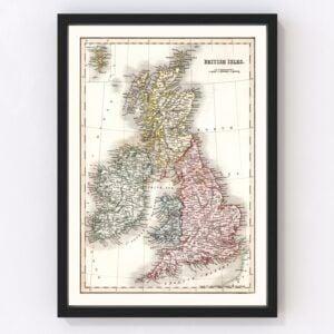 Vintage Map of British Isles 1832
