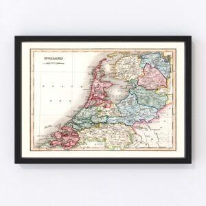 Vintage Map of Denmark 1832